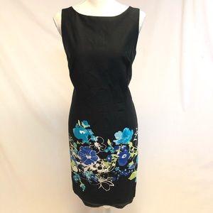 Shift dress black Sandra Darren flowers